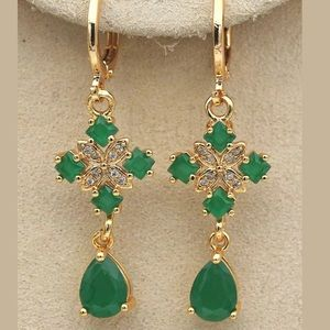 18k Yellow GF Water drop Jade Emerald Earrings